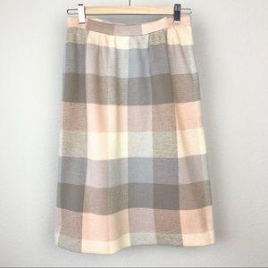 VTG 60s Dalton 100% Virgin Wool pastel plaid skirt